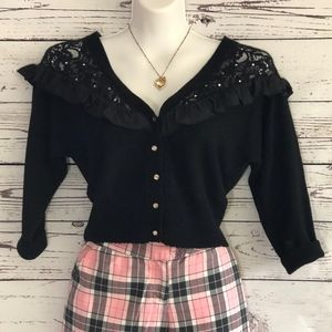 Betsey Johnson Lace Shoulder Cropped Sweater